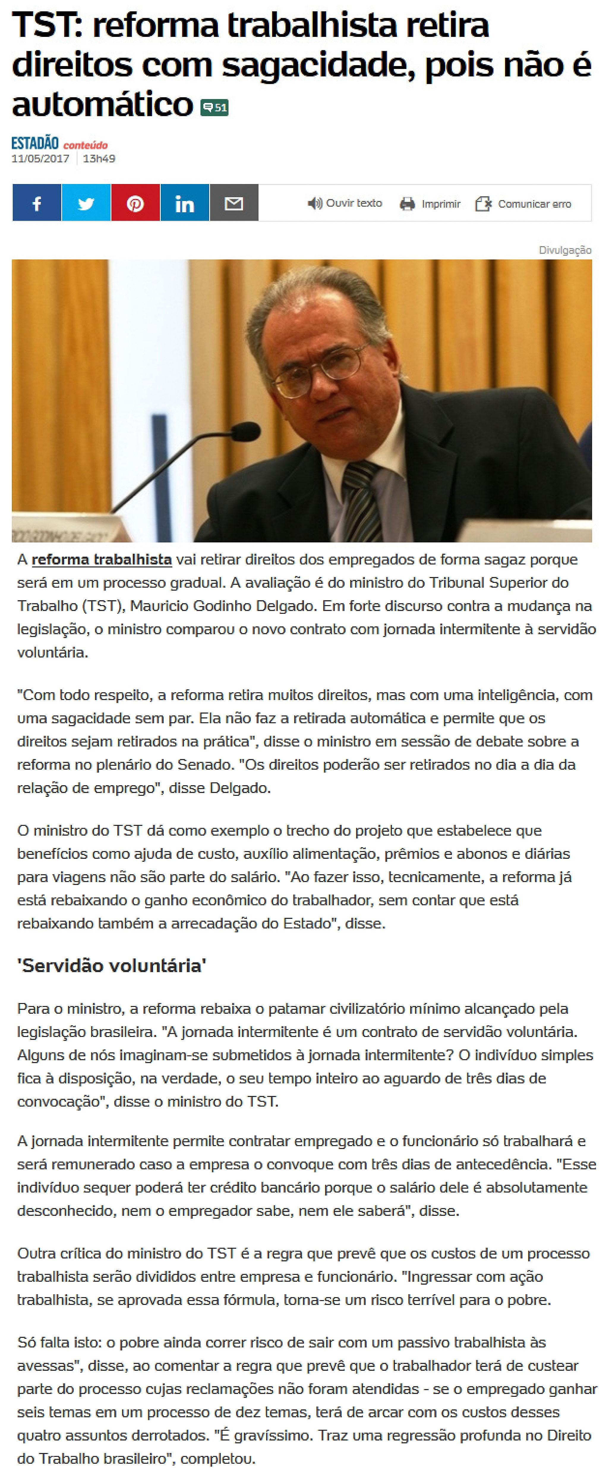 AE_ministro do TST critica reforma trabalhista