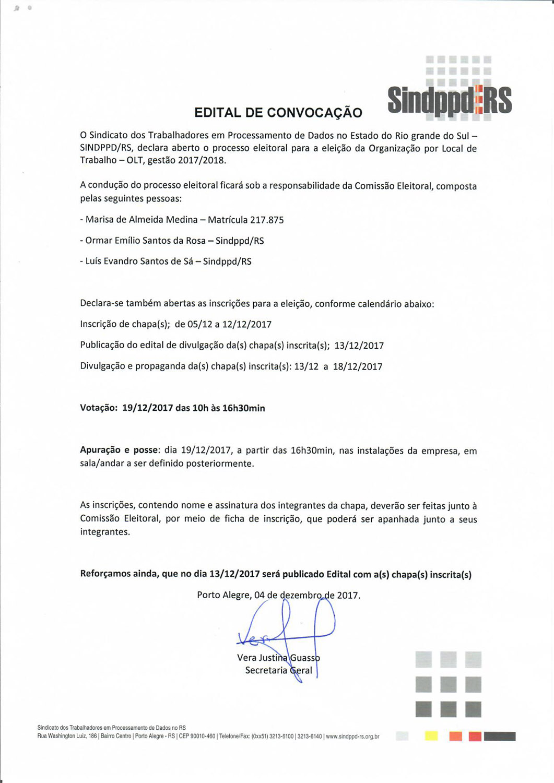 Edital de Abertura Eleições OLT 2017 2018