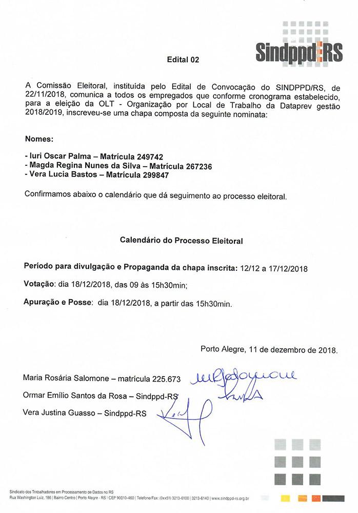 181211Inscricao de chapas_eleicoes_OLT DATAPREV_
