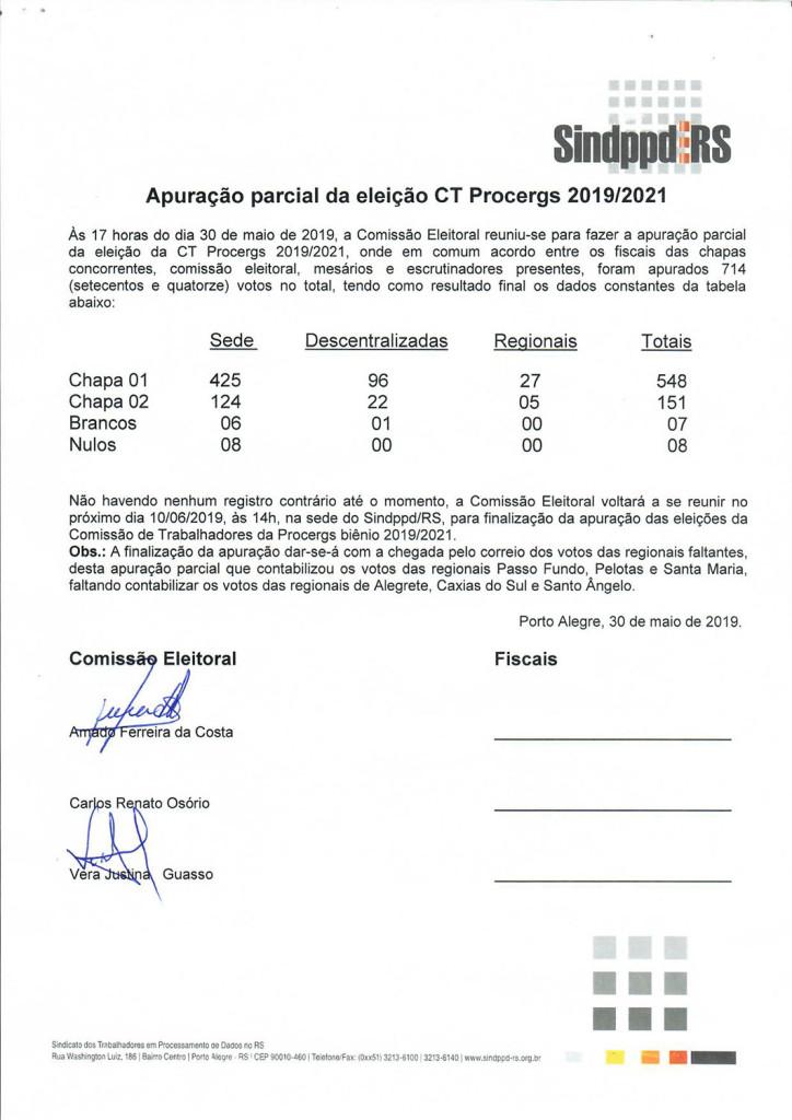 190530ATA_apuracaoparcial_eleicoes CT PROCERGS