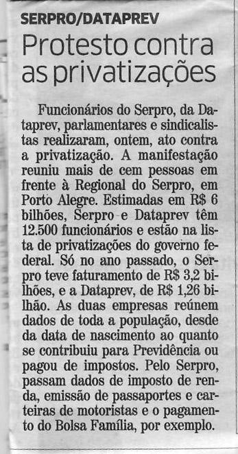 Privatização matéria Ato 10 09 jornal Correio do Povo