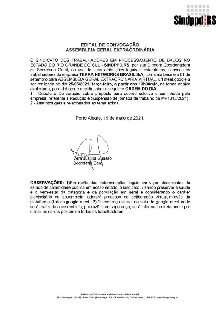 210525EDITAL_assembleia TERRA Networks_acordo reducao de salario e jornada